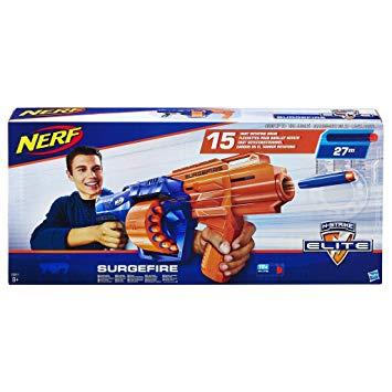 Nerf E0011EU5 N-Strike Surgefire, Multi-Colour Plus Free 30 Elite Darts - £13.20 (Prime) £17.69 (Non Prime) @ Amazon