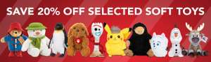 20% Off loads of cuddly soft toys including many Disney brands.Toy Story 4, Frozen 2, Lion King, Harry Potter! @ Zoom
