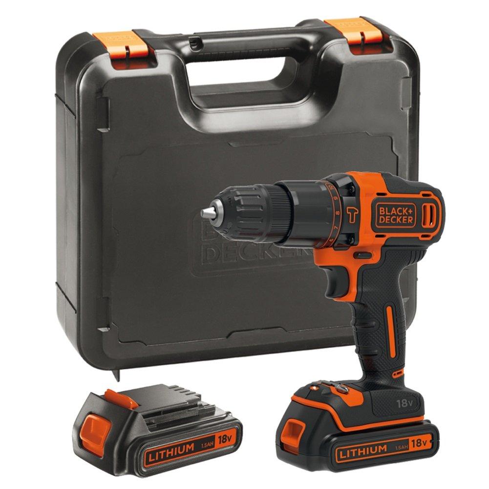 BLACK+DECKER BDCHD18KB-GB, Cordless Combi Drill with Kitbox, 18 V and 2 1.5ah Batteries - £60.99 @ Amazon