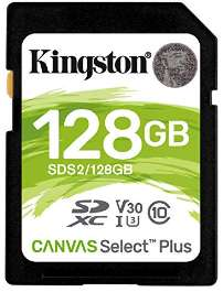 Kingston Canvas Select Plus 128GB V30 UHS-I U3-100/85 MB/s Read/Write (SDS2/128GB) SDXC SD Card for £16.99 Delivered @ Base
