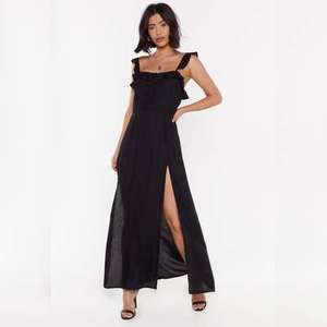 Slit ruffle dress in black or mustard for £10 (£11.99 delivered next day) @ Nasty Gal