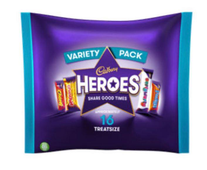 Heroes variety pack 16 treat size bars 50p at Nottingham - Hyson Green Asda