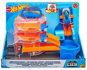 Hot Wheels GBF95 City Downtown Super Spin Dealership Playset, Multi-Colour £17.99 Prime / £22.48 Non Prime at Amazon