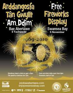 Swansea's Biggest Fireworks Display on 5 November - FREE to celebrate Swansea's 50th anniversary as a city
