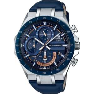 Casio Edifice Solar Power Chronograph Blue Dial Leather Strap Watch £89 at Watches2U