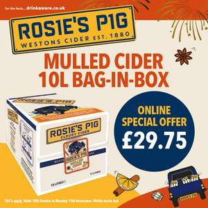 Weston's Rosies Pig (Mulled cider) 10L box £29.75 @ Westons