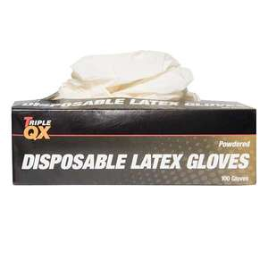 TRIPLE QX Latex Gloves Small Pre Powdered (Box of 100) £1.97 with code @ Euro Car Parts (Free Collection)