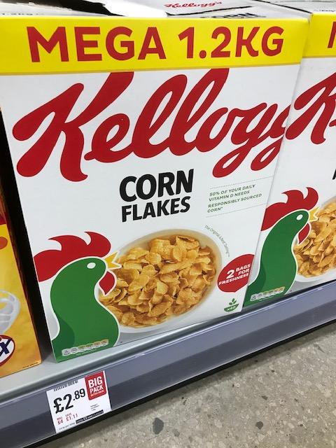 Kellogg's Corn Flakes 1.2kg Mega box - £2.89 instore at the Food Warehouse
