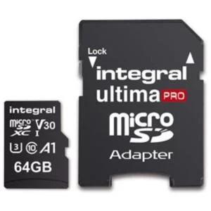 Integral UltimPro 64GB Micro SD Card 4K Ultra-HD Premium High Speed 100/70MB/S R/W V30 UHS-I U3 A1 C10 for £7.99 Delivered @ Base