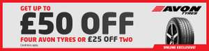 ATS Euromaster Online Only - Pirelli or Avon Tyres - £50 off 4 or £25 off 2 tyres