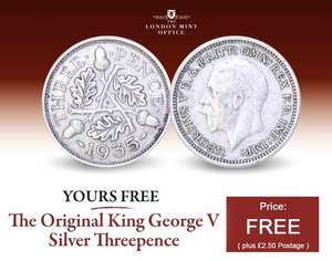 Free thruppences coin - £2.50 P&P @ London Mint Office