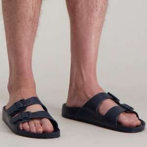Navy Double Buckle Mule Sandals - £3 + Free Click & Collect @ Argos