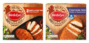 Birds Eye 2 Sweet & Sticky BBQ Chicken Chargrills 174g or 2 Southern Fried Chicken in Breadcrumbs 180g for 89p @ Iceland