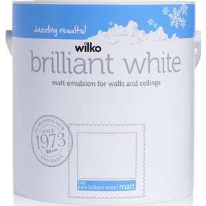 Wilko pure brilliant white emulsion paint, 2.5L (matt and vinyl) reduced to £5.00 + £2 Order & Collect