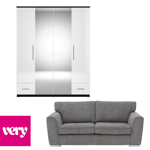 20% off a £299+ Spend On Indoor Furniture - EG: Martine Fabric 3 Seater Sofa £304.19 / 4-Door Mirrored Wardrobe £254.19 Using Code @ Very