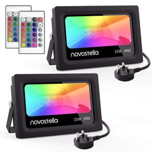 Novostella 2 Pack 15W LED RGB Flood Lights with Remote Control £26.99 @ Sold by Ustellar-EU and FBA