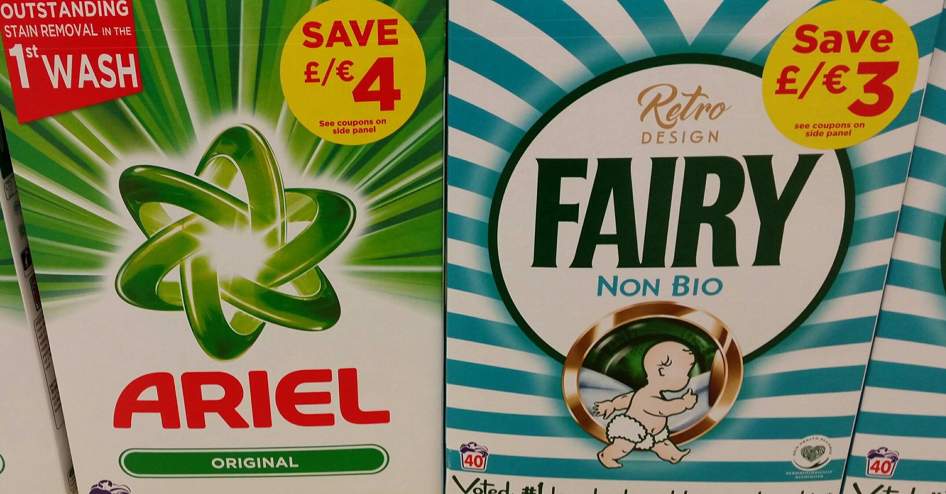 Fairy non bio & Ariel washing powder 40 washes £5 online and instore @ Tesco