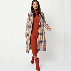 Beige Check Longline Double Breasted Formal Coat (was £36) Now £18 click & collect @ Asda George
