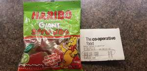 Haribo Giant Stawbs 100g bag- 40p at Co-operative Lowestoft