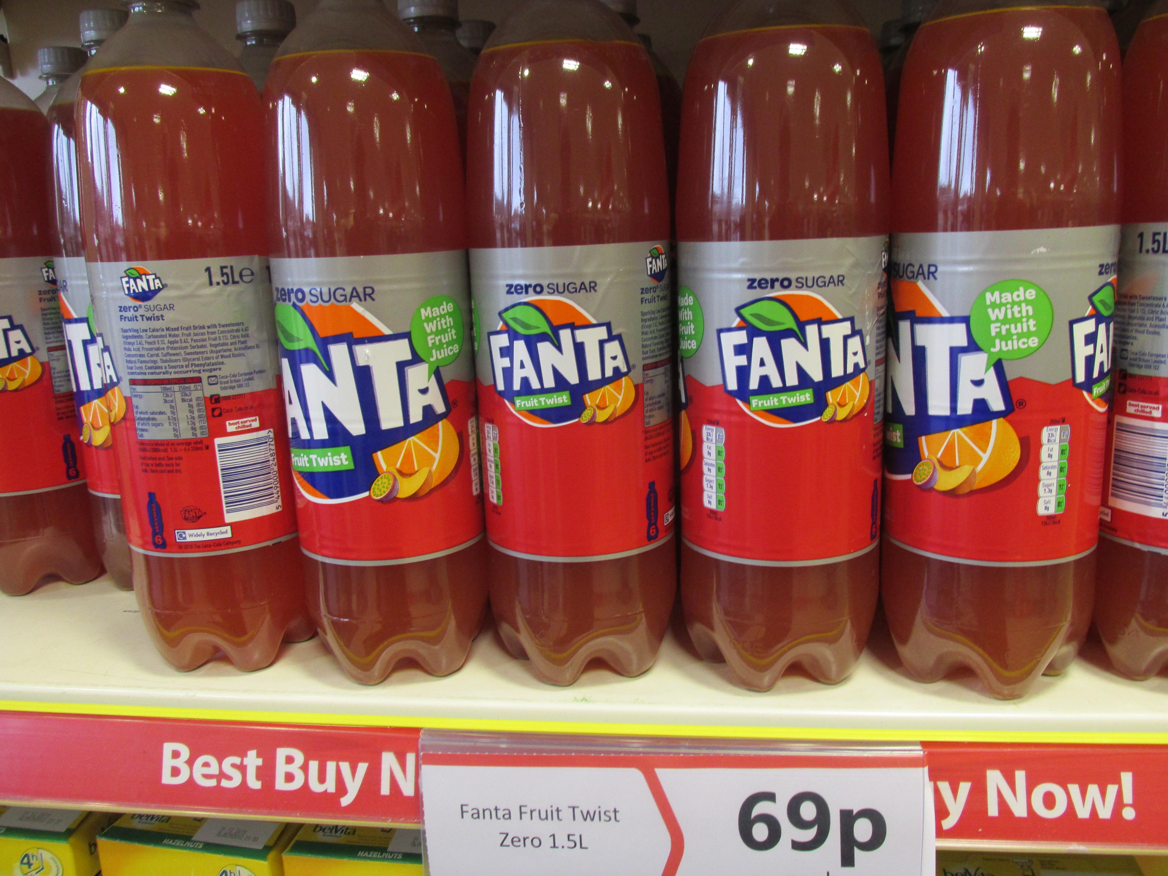 1.5L Bottle of Fanta Fruit Twist Zero Sugar. 69p @ Heron Foods Abbey Hulton