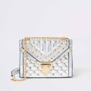 Metallic silver quilted cross body bag £20 River Island (free click & collect)