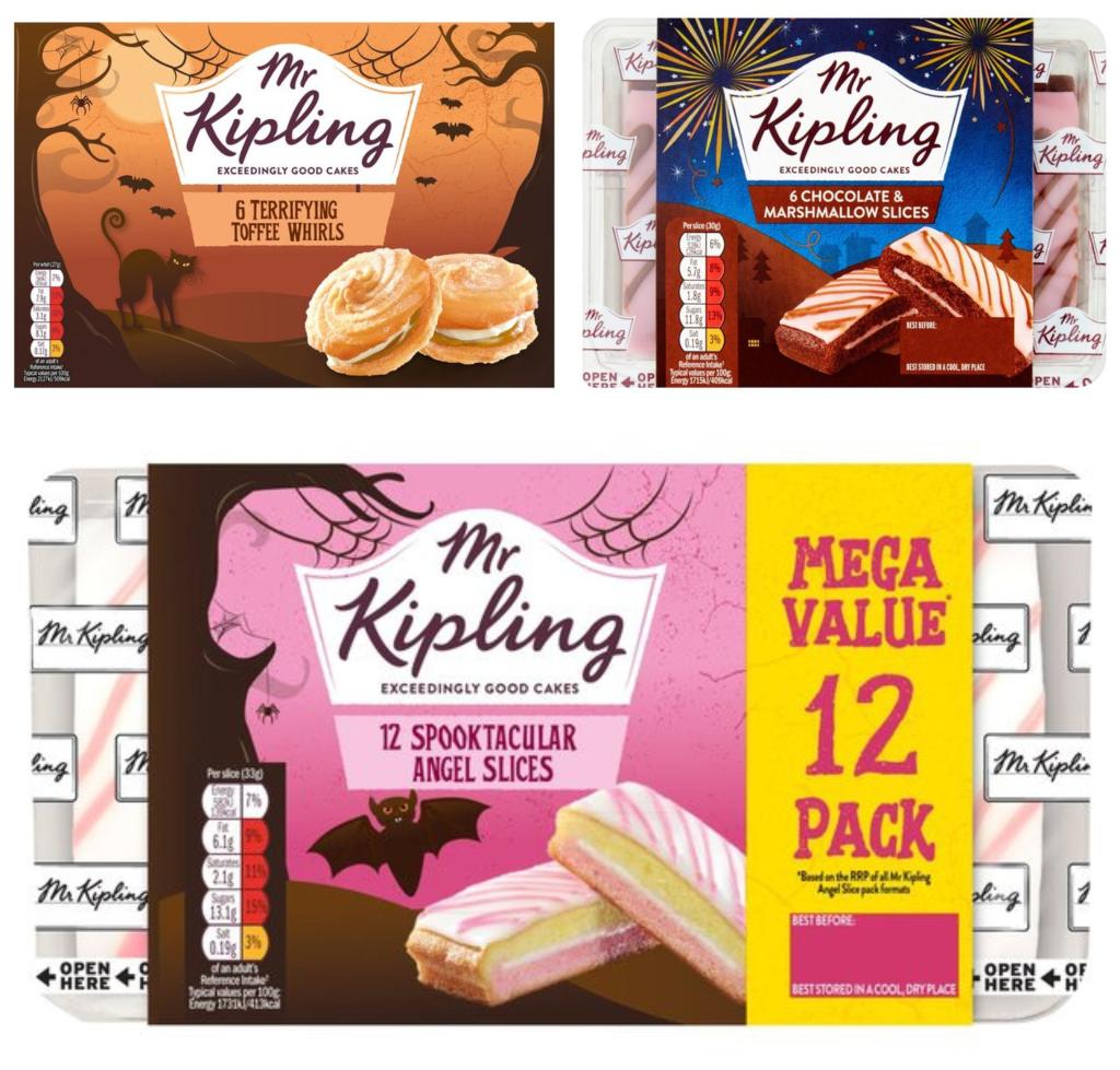 Mr Kipling Hot Chocolate & Marshmallow Slices x6 - 50p / Halloween Angel Slices x12 - £1 / Toffee Terror Whirls x6 - 50p @ Morrisons