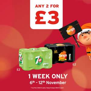 Tango / 7Up 6pk Any 2 packs for £3.00 at One Stop Convenience Stores