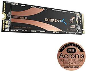 Sabrent Rocket Nvme PCIe 4.0 M.2 2280 - 500gb £100.79/1tb 167.99 apply 16% voucher code @ Sold by SLJ Trading and Fulfilled by Amazon.