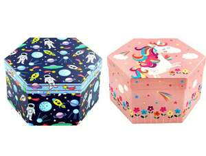 4 Tier Hexagon Art Box - 52 Piece - Space or Unicorn £3.75 with code @ The Works (Free Click and Collect)