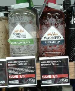 1/3 off Gin at M&S - Sipsmith 70cl £18.66, Warner Edwards Rhubarb 70cl £25, M&S British Lavender or Rose Gins £16.66. In-store nationwide