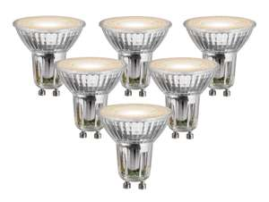 Warm White Cree LED Glass Bulb - 5W GU10 - Pack of 6 for £3 (i.e. 50p each) @ Wickes (Free click+collect)