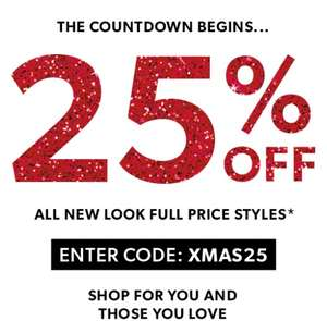 25% Off All New Look Full Price Styles @ New Look