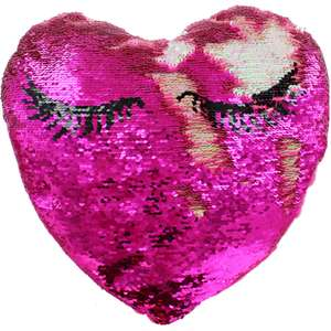 Large Reversible Pink Sequin Heart Cushion £3.75 with code and free click & collect @ The works