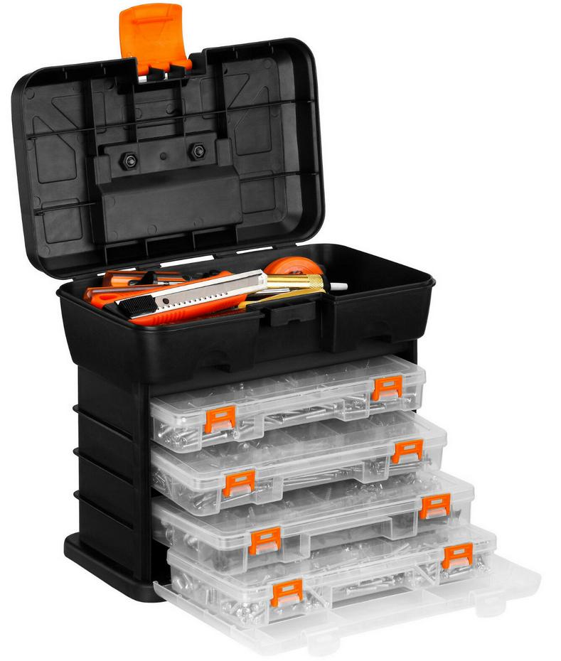 VonHaus Utility DIY Storage Tool Box Carry Case - 4 Drawers & Organiser Dividers + 2 Year Warranty - £9.99 delivered @ VonHaus