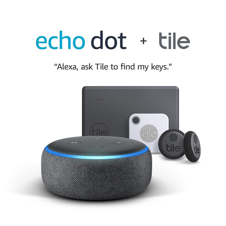 Tile Essentials (2020) - 4 Pack + Echo Dot (3rd Gen) - Smart speaker with Alexa - Charcoal Fabric - £64.99 @ Amazon