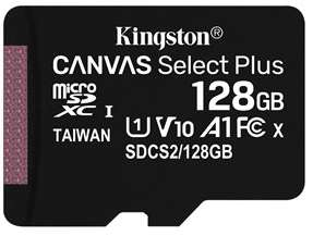 Kingston Canvas Select Plus 128GB microSDXC A1,Class 10, UHS-I, speeds up to 100 MB/s* (card only) (More IN OP)for £10.99 Delivered @ Base