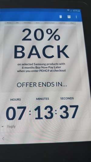 20% off Selected Samsung Products @ Very