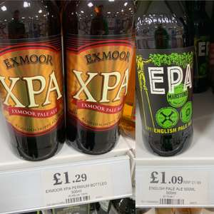 Not IPA 500ml bottles @ home bargains (Marstons EPA English pale ale £1.09 + XPA Exmoor pale Ale beer £1.29) £1.09 @ Home Bargains