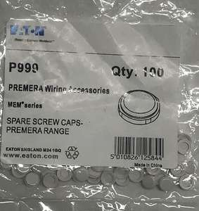 Eaton P999 Premera Spare Screw Caps, Plastic, White 18p this is a add on item to get free post