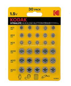 Kodak Xtralife 30 x Alkaline button cell batteries £1 @ Poundland