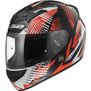 LS2 FF352 Rookie Infinite White Black Red Motorbike Helmet Race Full Face Crash XL for £27.89 at ebay / Bike helmets