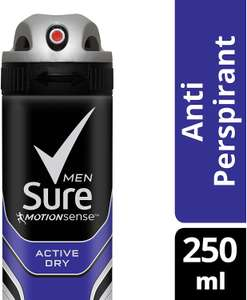 10 x Sure Active Dry 48h Protection Antiperspirant Deodorant Aerosol for Sweat and Odour Protection, 250 ml for £3.99 at Amazon Prime now