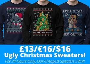 Qwertee Ugly Christmas Sweaters now £13 plus £2.50 p&p for a limited time @ Qwertee