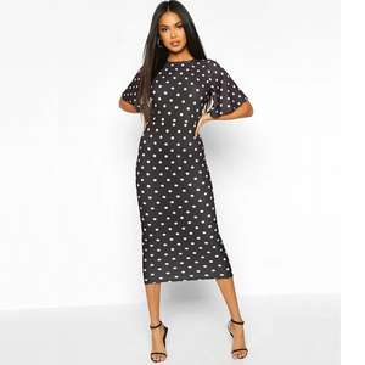 Polka Dot Flutter Sleeve Open Back Dress £6.00 + £3.99 delivery @ Boohoo