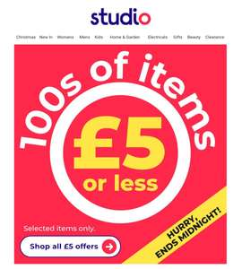 Lots of items £5 or under at Studio + £4.99 delivery