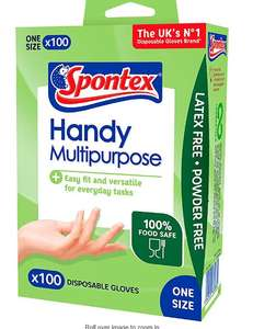 Spontex Multi-Purpose Disposable Gloves 100 Pack £2 at Amazon Pantry (£15 minimum spend + £3.99 delivery)