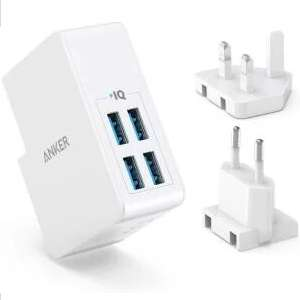 Anker USB Plug Charger 5.4A/27W 4-Port, PowerPort 4Lite for £9.99 Prime / +£4.49 Non Prime - Sold by Ankerdirect & FBA