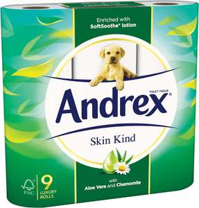 Andrex Toilet Roll Skin Kind, with Aloe Vera, 54 Rolls £16.81 via Subscribe and Save @ Amazon (+£4.49 non-prime)