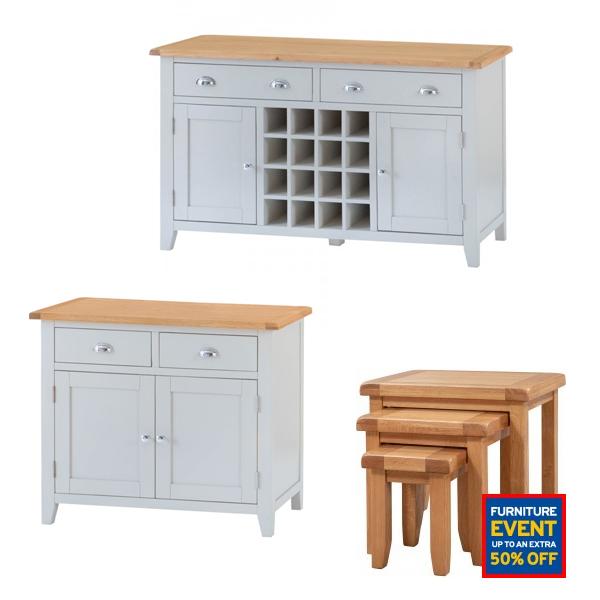 Furniture Sale Upto 50% off - EG: Cambridge Solid Wood Oak Topped / Framed Sideboard 2 Door & 2 Drawer + Wine Rack £246.09 Delivered @ JTF