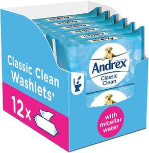 Andrex Washlets, Classic Clean Toilet Tissue Wet Wipes (Flushable Tissue Wipes), 12 Packs £6.60 + £4.49 delivery Non Prime @ AMAZON